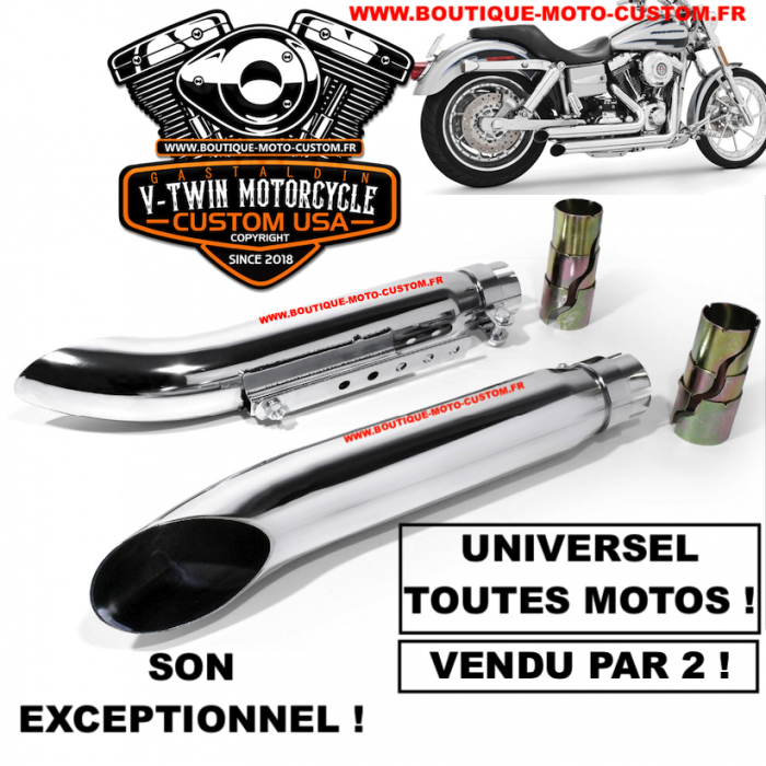 Echappement Silencieux Turn Out Universel Moto Custom